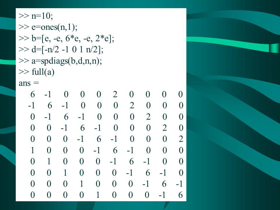 >> n=10; >> e=ones(n,1); >> b=[e, -e, 6*e, -e, 2*e]; >> d=[-n/2 -1 0 1 n/2]; >> a=spdiags(b,d,n,n);